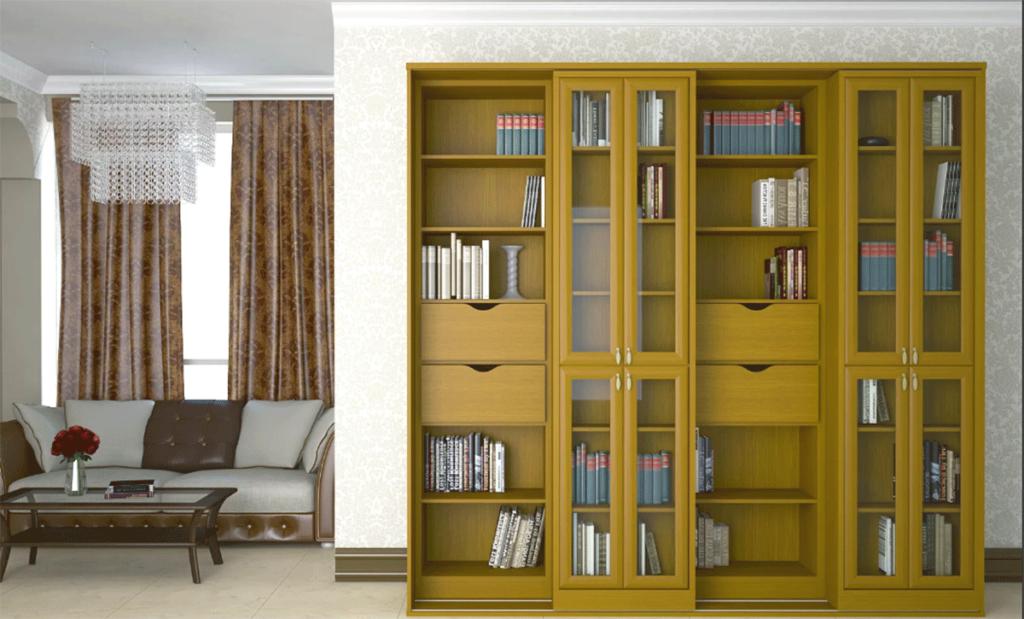 место для хранения — библиотека с раздвижными дверями